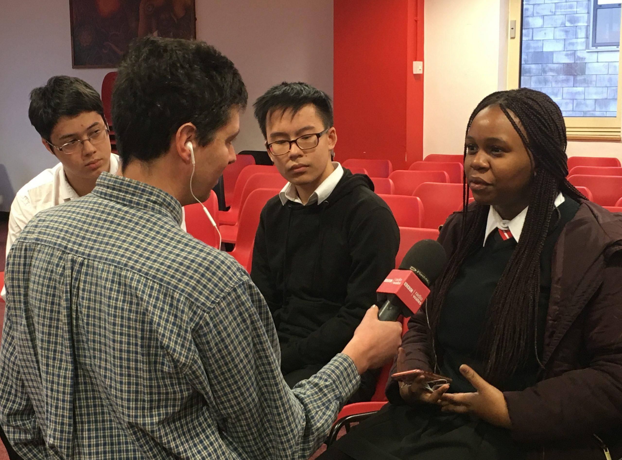 BBC Radio Wales interview Cardiff Sixth Form College students regarding UN Model Conference in Senedd, Cardiff Bay